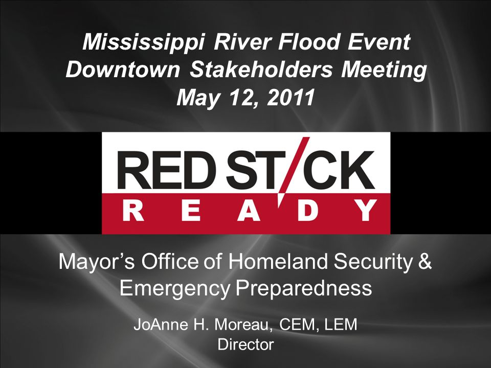 Mississippi River Flood Event Downtown Stakeholders Meeting May 12, 2011 JoAnne H.
