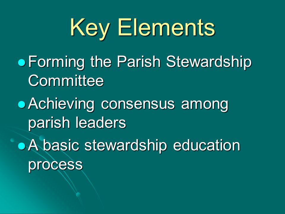 Key Elements Forming the Parish Stewardship Committee Forming the Parish Stewardship Committee Achieving consensus among parish leaders Achieving consensus among parish leaders A basic stewardship education process A basic stewardship education process
