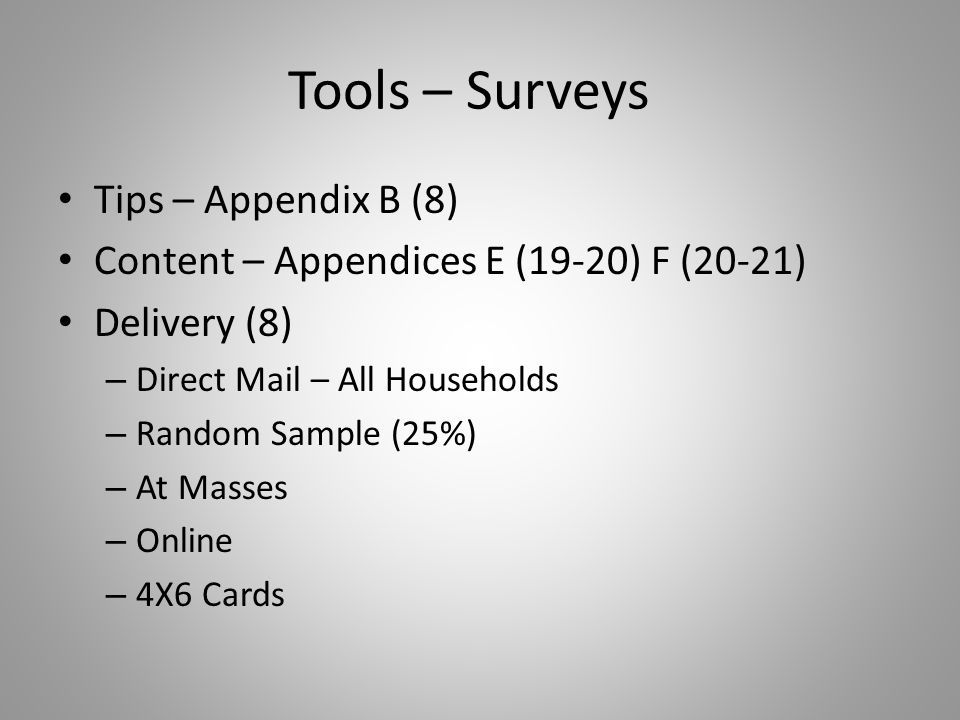 Tools – Surveys Tips – Appendix B (8) Content – Appendices E (19-20) F (20-21) Delivery (8) – Direct Mail – All Households – Random Sample (25%) – At Masses – Online – 4X6 Cards