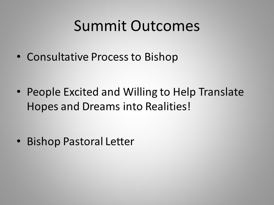Summit Outcomes Consultative Process to Bishop People Excited and Willing to Help Translate Hopes and Dreams into Realities.