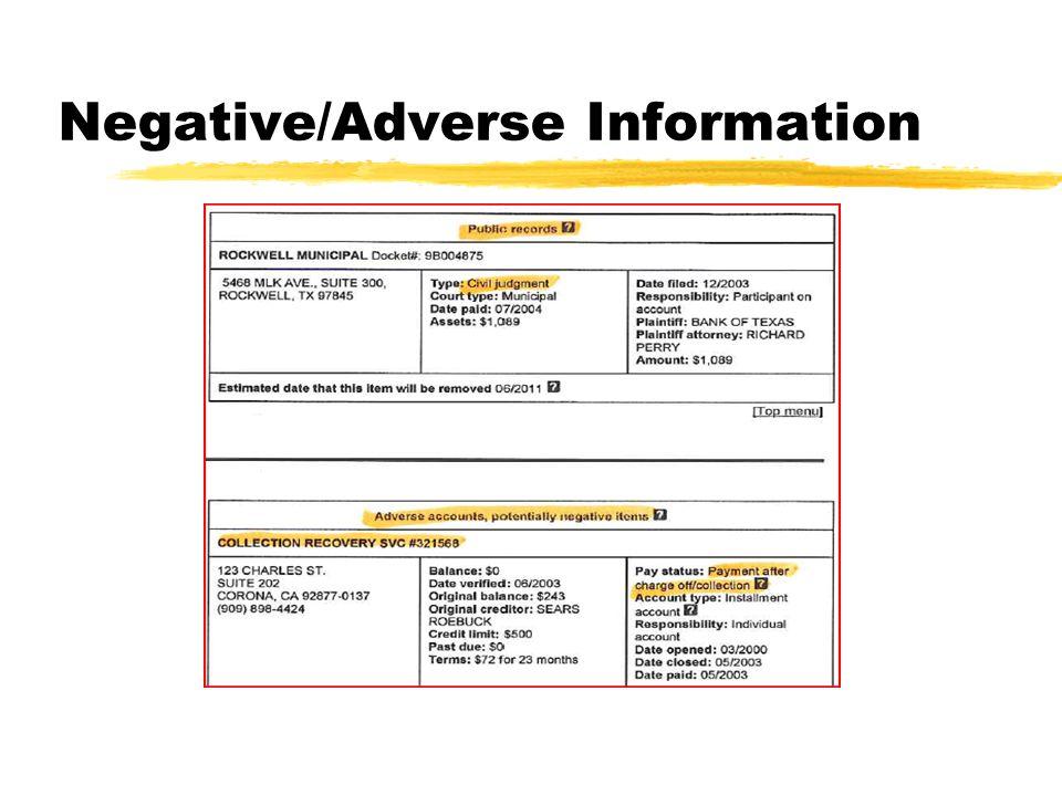 Negative/Adverse Information