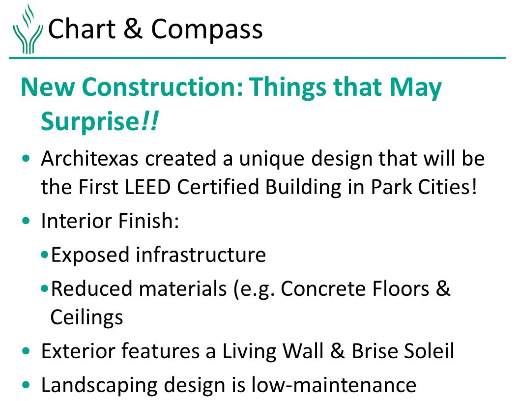 Chart & Compass New Construction: Things that May Surprise!.