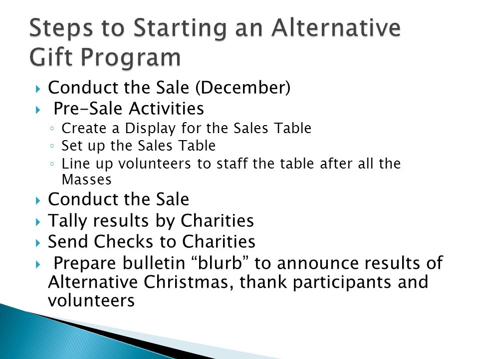  Take one of our Quick Guides with you  Contact us: ◦ Charles McCarthy, Social Concerns Director  (301) 840-1407 / cmccarthy@sfadw.orgcmccarthy@sfadw.org ◦ Alternative Christmas Program Coordinators  Pat O'Connor (301)977-9208 / leafs20879@aol.comleafs20879@aol.com  Carol Lindsey ( 240)631-8180 / carlindsey@aol.com carlindsey@aol.com