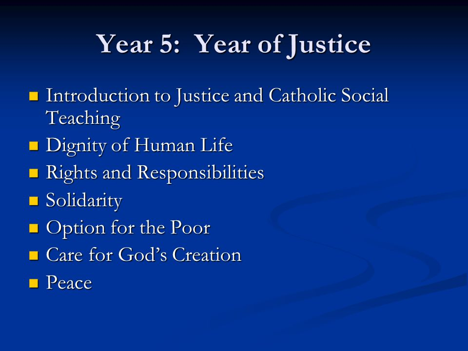 Year 5: Year of Justice Introduction to Justice and Catholic Social Teaching Introduction to Justice and Catholic Social Teaching Dignity of Human Lif