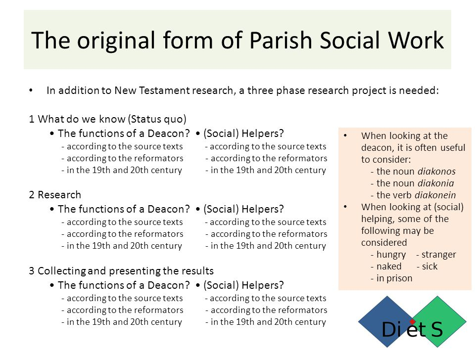In addition to New Testament research, a three phase research project is needed: 1 What do we know (Status quo) The functions of a Deacon.