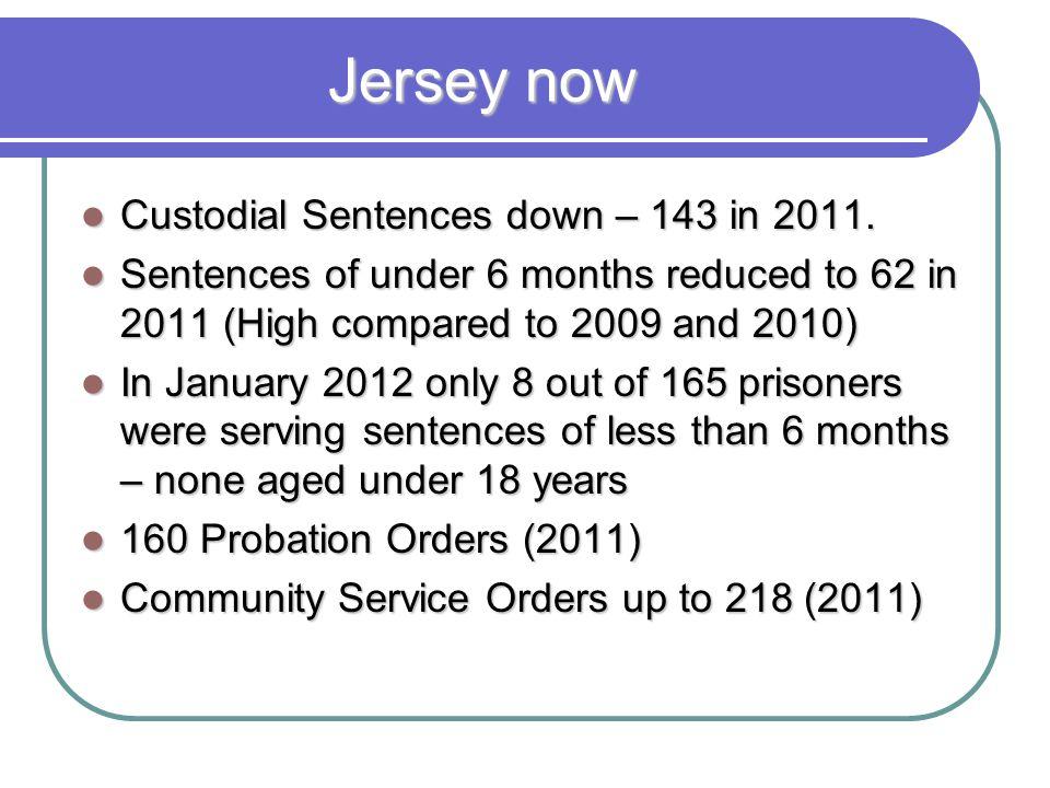 Jersey now Custodial Sentences down – 143 in 2011.
