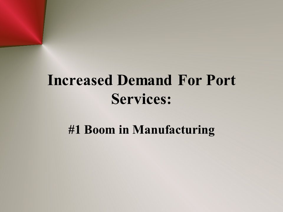 Increased Demand For Port Services: #1 Boom in Manufacturing