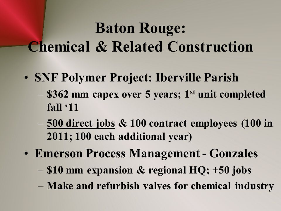 Baton Rouge: Chemical & Related Construction SNF Polymer Project: Iberville Parish –$362 mm capex over 5 years; 1 st unit completed fall '11 –500 direct jobs & 100 contract employees (100 in 2011; 100 each additional year) Emerson Process Management - Gonzales –$10 mm expansion & regional HQ; +50 jobs –Make and refurbish valves for chemical industry