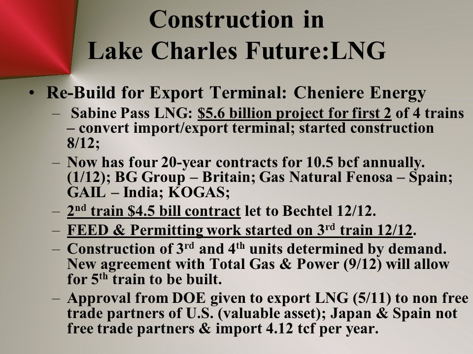Construction in Lake Charles Future:LNG Re-Build for Export Terminal: Cheniere Energy – Sabine Pass LNG: $5.6 billion project for first 2 of 4 trains – convert import/export terminal; started construction 8/12; –Now has four 20-year contracts for 10.5 bcf annually.