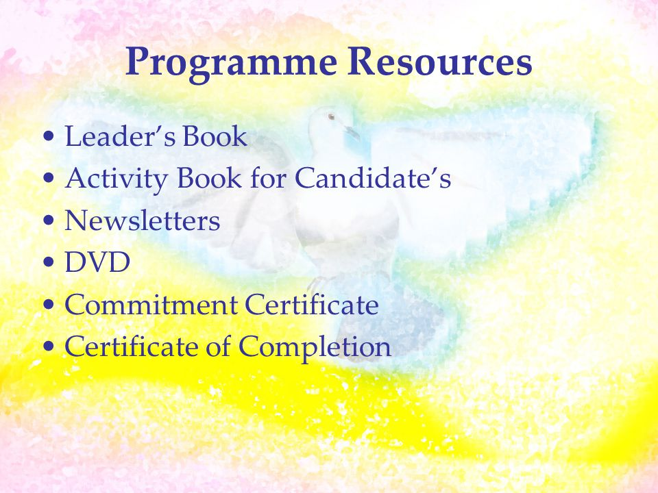 Programme Resources Leader's Book Activity Book for Candidate's Newsletters DVD Commitment Certificate Certificate of Completion