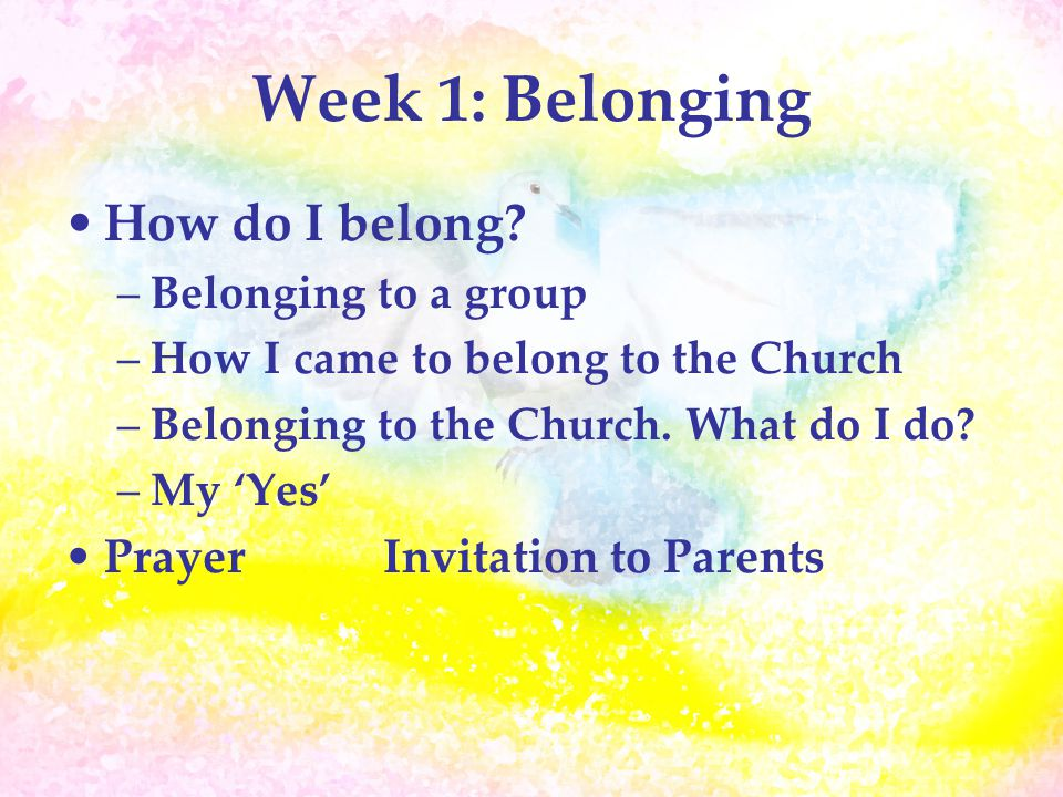 Week 1: Belonging How do I belong? –Belonging to a group –How I came to belong to the Church –Belonging to the Church. What do I do? –My 'Yes' PrayerI