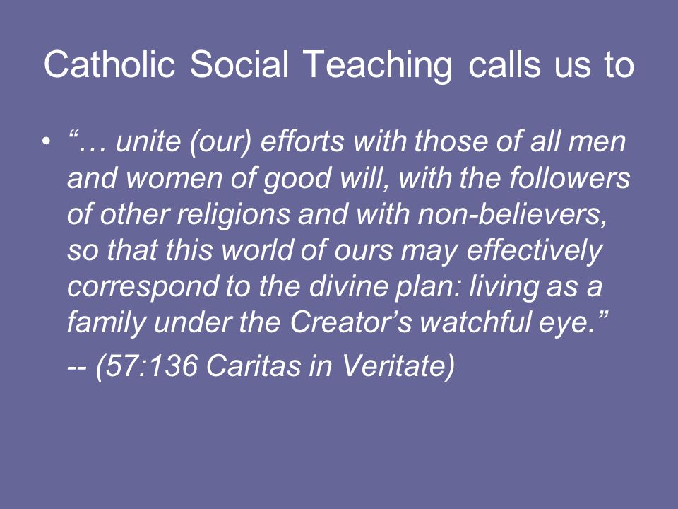 Catholic Social Teaching calls us to … unite (our) efforts with those of all men and women of good will, with the followers of other religions and with non-believers, so that this world of ours may effectively correspond to the divine plan: living as a family under the Creator's watchful eye. -- (57:136 Caritas in Veritate)