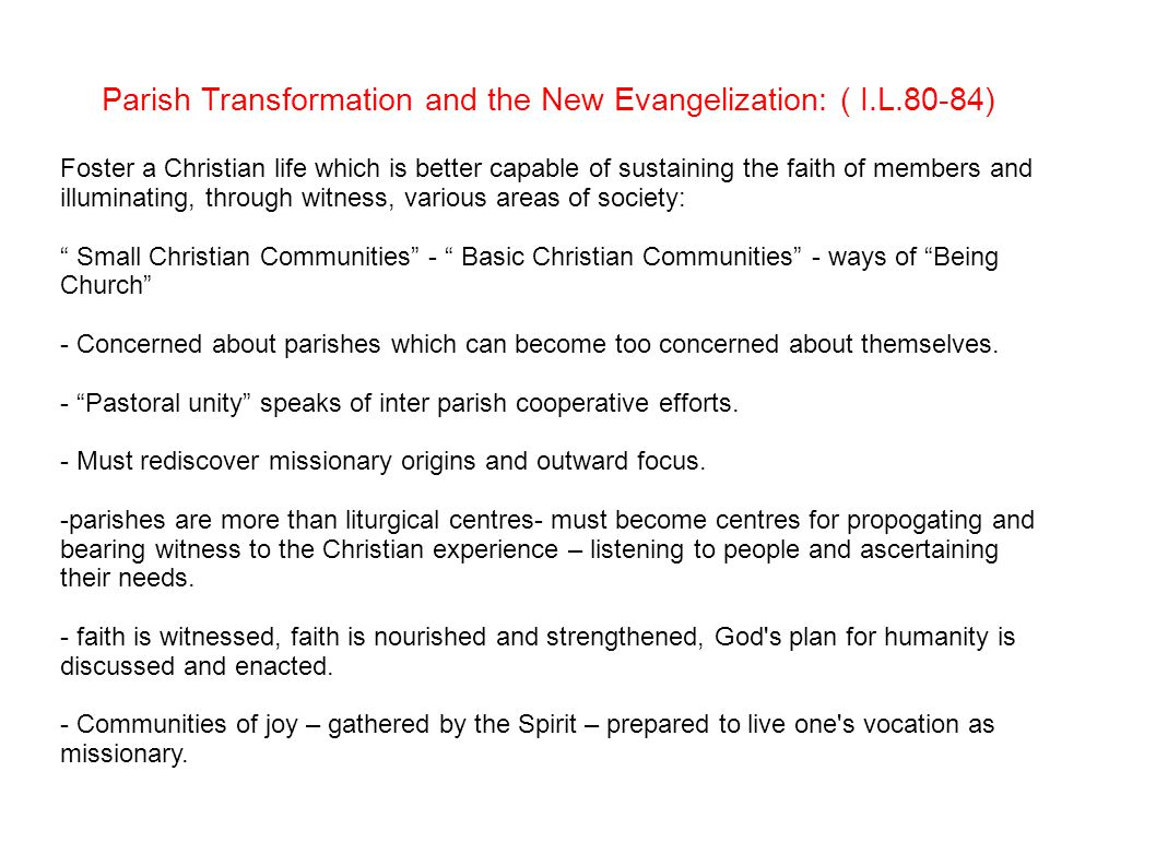 Parish Transformation and the New Evangelization: ( I.L.80-84) Foster a Christian life which is better capable of sustaining the faith of members and illuminating, through witness, various areas of society: Small Christian Communities - Basic Christian Communities - ways of Being Church - Concerned about parishes which can become too concerned about themselves.