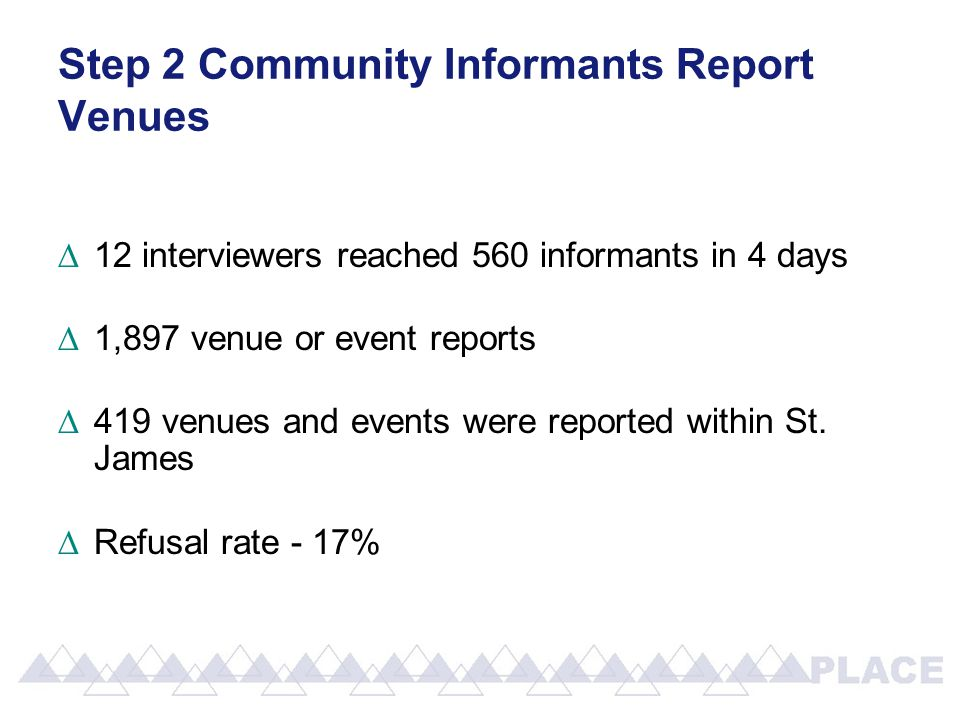 Step 2 Community Informants Report Venues ∆12 interviewers reached 560 informants in 4 days ∆1,897 venue or event reports ∆419 venues and events were reported within St.