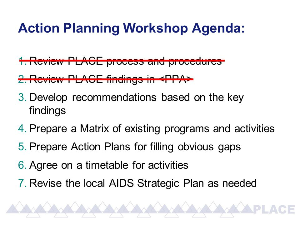 1.Review PLACE process and procedures 2.Review PLACE findings in 3.Develop recommendations based on the key findings 4.Prepare a Matrix of existing programs and activities 5.Prepare Action Plans for filling obvious gaps 6.Agree on a timetable for activities 7.Revise the local AIDS Strategic Plan as needed Action Planning Workshop Agenda: