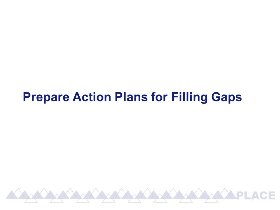 Prepare Action Plans for Filling Gaps