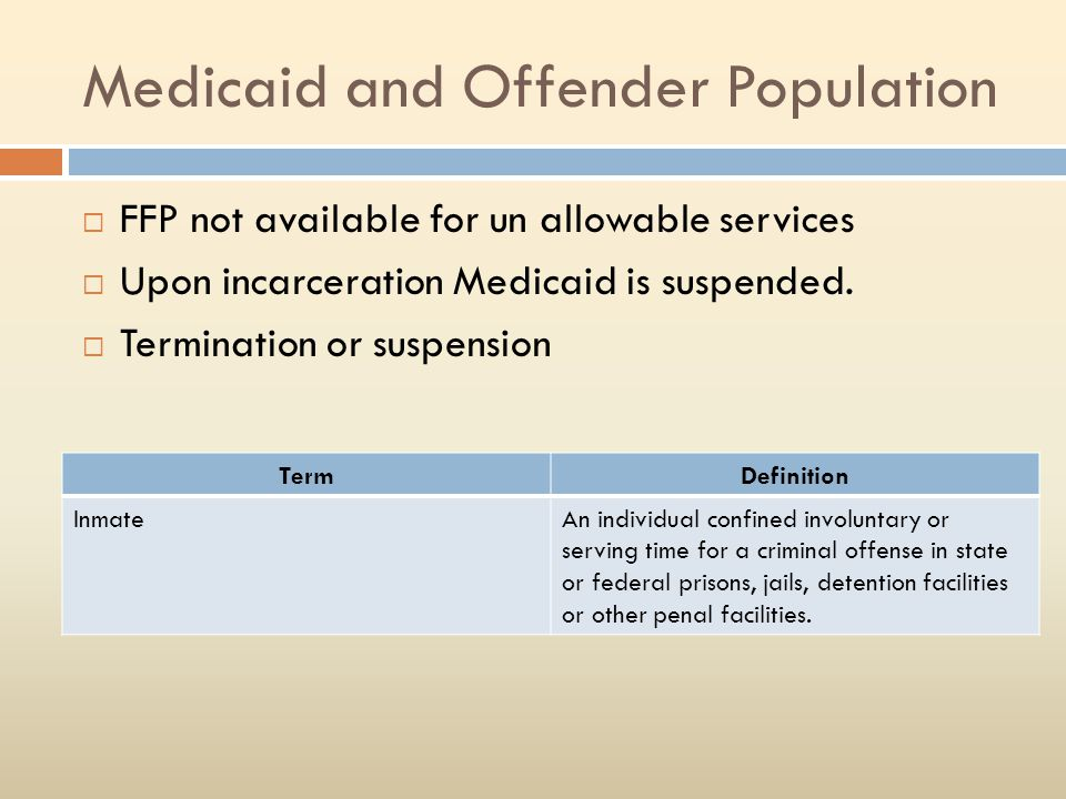 Medicaid and Offender Population  FFP not available for un allowable services  Upon incarceration Medicaid is suspended.  Termination or suspension