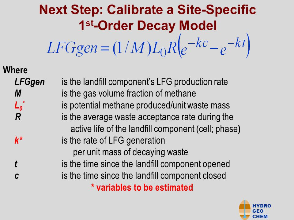 HYDRO GEO CHEM Where LFGgen is the landfill component's LFG production rate M is the gas volume fraction of methane L 0 * is potential methane produced/unit waste mass nn R is the average waste acceptance rate during the active life of the landfill component (cell; phase ) k* is the rate of LFG generation per unit mass of decaying waste t is the time since the landfill component opened c is the time since the landfill component closed * variables to be estimated Next Step: Calibrate a Site-Specific 1 st -Order Decay Model