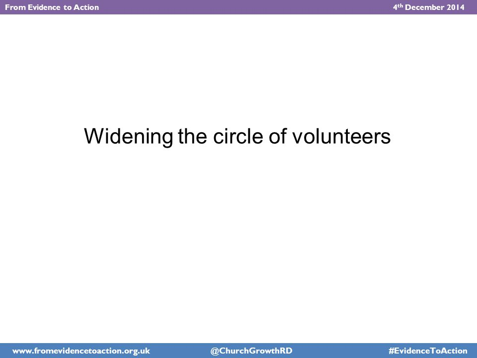 Widening the circle of volunteers From Evidence to Action 4 th December 2014 www.fromevidencetoaction.org.uk @ChurchGrowthRD #EvidenceToAction