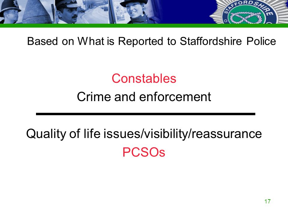 Staffordshire Police Corporate PowerPoint Template by Carl Uttley 9545 17 Based on What is Reported to Staffordshire Police Constables Crime and enfor