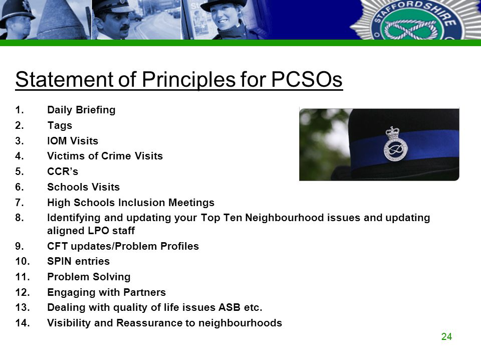 Staffordshire Police Corporate PowerPoint Template by Carl Uttley 9545 24 Statement of Principles for PCSOs 1.Daily Briefing 2.Tags 3.IOM Visits 4.Vic