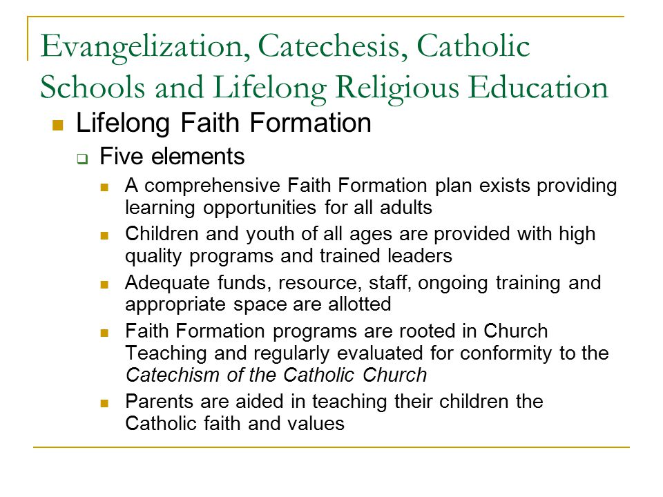 Evangelization, Catechesis, Catholic Schools and Lifelong Religious Education Lifelong Faith Formation  Five elements A comprehensive Faith Formation plan exists providing learning opportunities for all adults Children and youth of all ages are provided with high quality programs and trained leaders Adequate funds, resource, staff, ongoing training and appropriate space are allotted Faith Formation programs are rooted in Church Teaching and regularly evaluated for conformity to the Catechism of the Catholic Church Parents are aided in teaching their children the Catholic faith and values