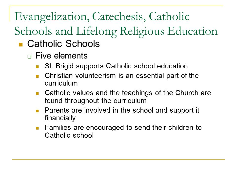 Evangelization, Catechesis, Catholic Schools and Lifelong Religious Education Catholic Schools  Five elements St.