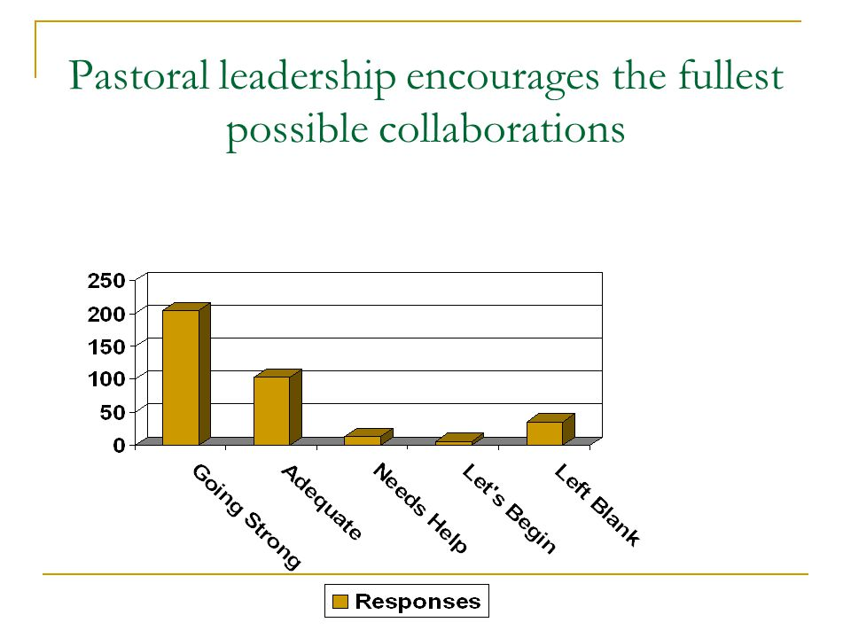 Pastoral leadership encourages the fullest possible collaborations