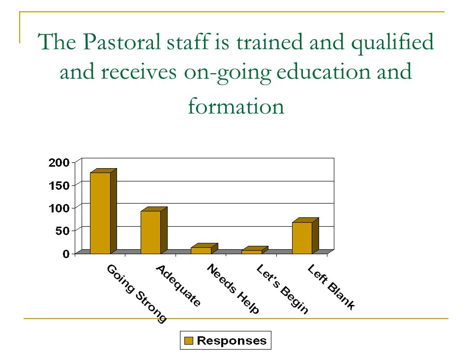 The Pastoral staff is trained and qualified and receives on-going education and formation