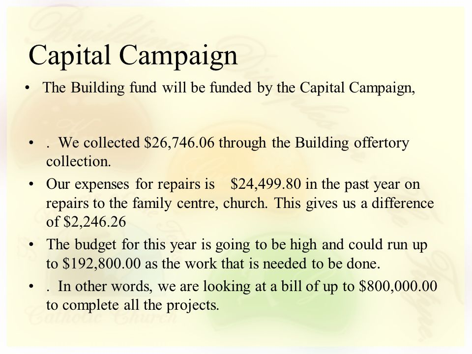 Capital Campaign. We collected $26,746.06 through the Building offertory collection.