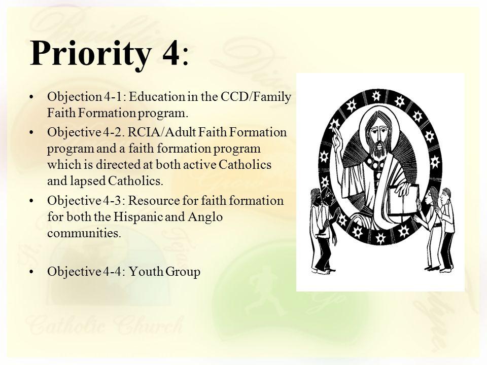 Objection 4-1: Education in the CCD/Family Faith Formation program. Objective 4-2. RCIA/Adult Faith Formation program and a faith formation program wh