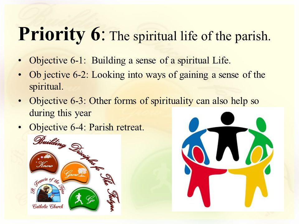 Objective 6-1: Building a sense of a spiritual Life. Ob jective 6-2: Looking into ways of gaining a sense of the spiritual. Objective 6-3: Other forms