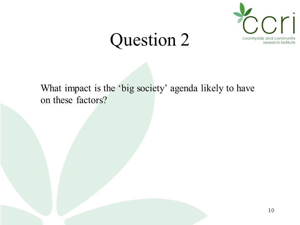 10 Question 2 What impact is the 'big society' agenda likely to have on these factors