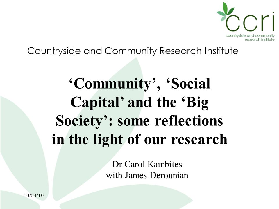 3 Contents 1.The importance of researching rural communities 2.