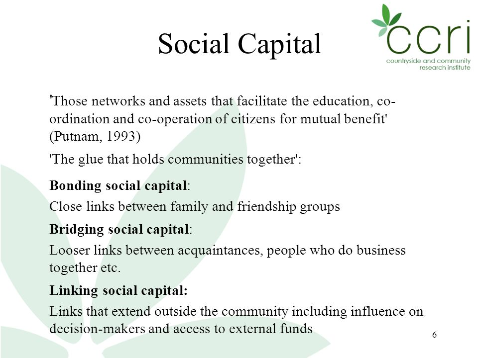 6 Social Capital Those networks and assets that facilitate the education, co- ordination and co-operation of citizens for mutual benefit (Putnam, 1993) The glue that holds communities together : Bonding social capital: Close links between family and friendship groups Bridging social capital: Looser links between acquaintances, people who do business together etc.