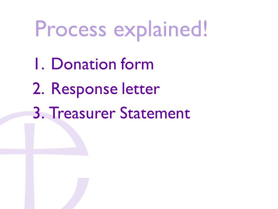 Process explained! 1. Donation form 2. Response letter 3. Treasurer Statement