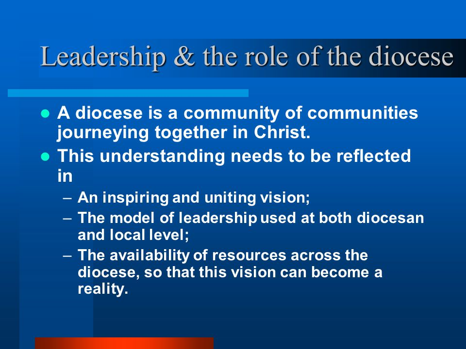 Leadership & the role of the diocese A diocese is a community of communities journeying together in Christ.