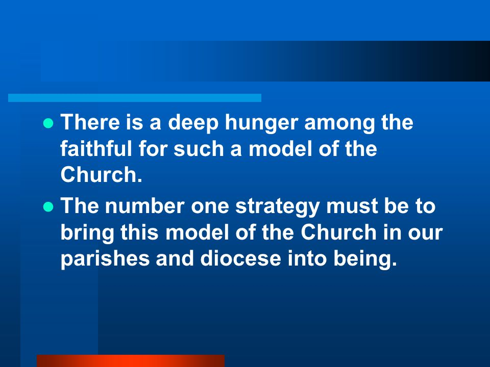 There is a deep hunger among the faithful for such a model of the Church.