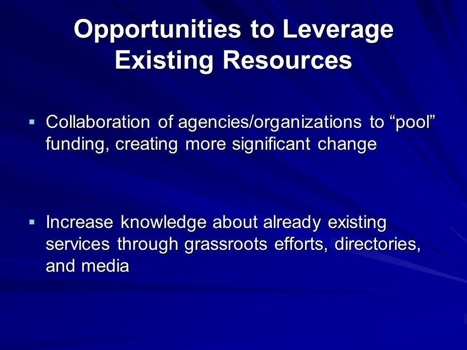 Opportunities to Leverage Existing Resources  Collaboration of agencies/organizations to pool funding, creating more significant change  Increase knowledge about already existing services through grassroots efforts, directories, and media