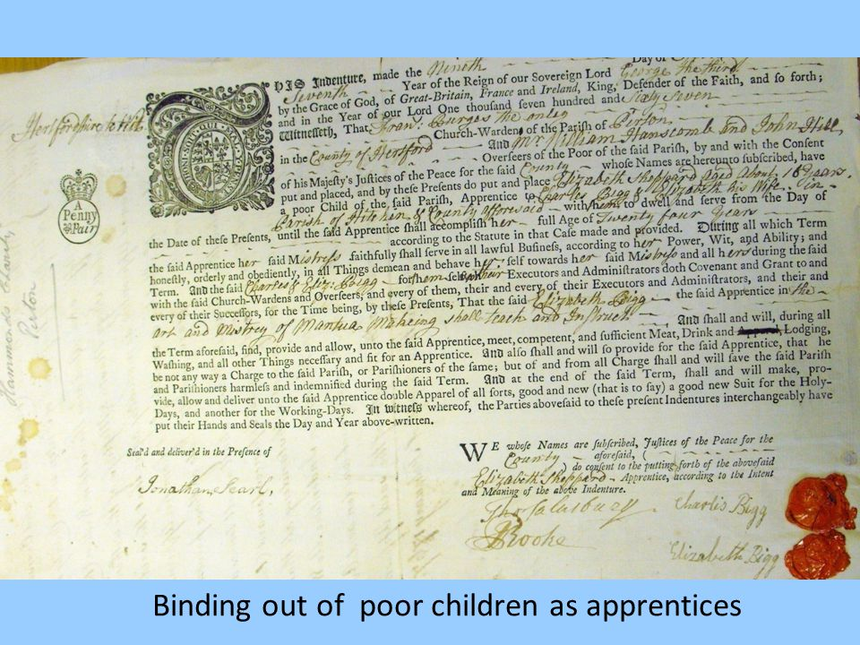 Binding out of poor children as apprentices