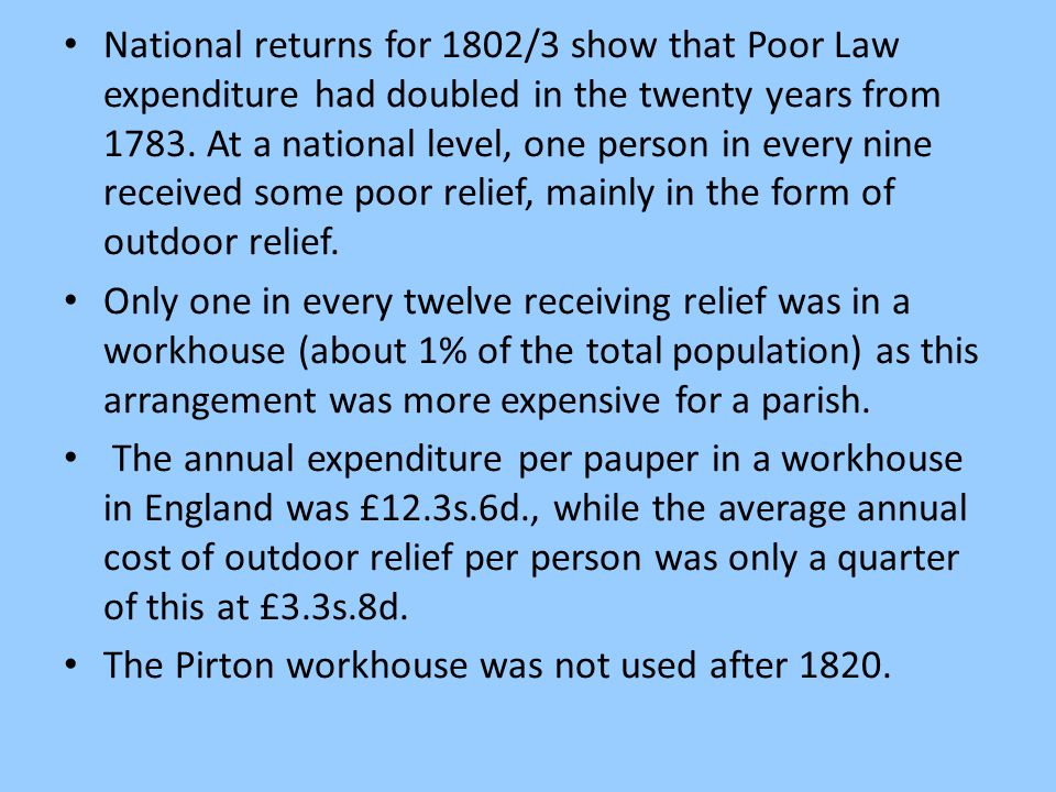 National returns for 1802/3 show that Poor Law expenditure had doubled in the twenty years from 1783. At a national level, one person in every nine re
