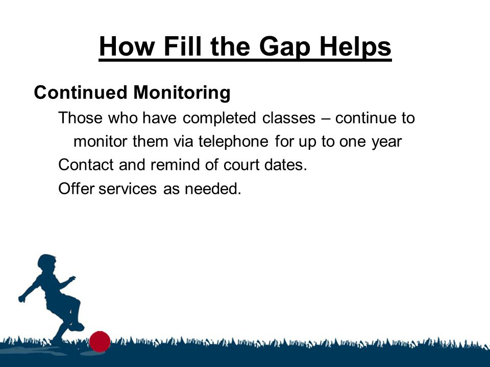 How Fill the Gap Helps Continued Monitoring Those who have completed classes – continue to monitor them via telephone for up to one year Contact and r