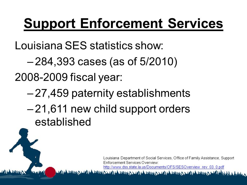 Support Enforcement Services Louisiana Support Enforcement Services 2008-2009 collections total: Louisiana Department of Social Services, Office of Family Assistance, Support Enforcement Services 2008-2009 Statistics http://www.dss.state.la.us/assets/docs/searchable/OFS/Statistics/Stat08- 09/SupportEnforce/fy0809_SES_Prod.pdf http://www.dss.state.la.us/assets/docs/searchable/OFS/Statistics/Stat08- 09/SupportEnforce/fy0809_SES_Prod.pdf Current Support Due Current Support Collected % Current Support Collected Statewide$443,049,046$253,874,62757.3% Amite Region$23,302,947$13,267,32156.9%