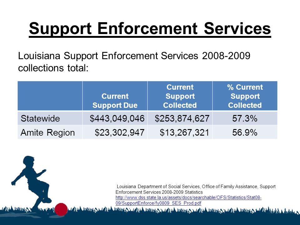 Support Enforcement Services Louisiana Support Enforcement Services 2008-2009 collections total: Louisiana Department of Social Services, Office of Fa