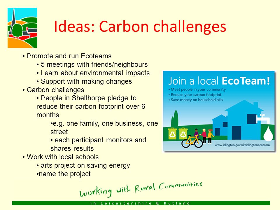 Ideas FOODENERGYSKILLSTRAVELCARBON CHALLENGES OTHER Big Lunch dayEnergy saving fair Green skills fair Walking school bus EcoteamsTraining on green issues Pocket Orchards Energy auditsVisits/trips for youth Car sharing group Carbon Challenges Herb gardensGreen doctorCraft coursesImproved routes Project with schools Community Composting Solar panelsCommunity events CHECKLIST: Meets community's needs.