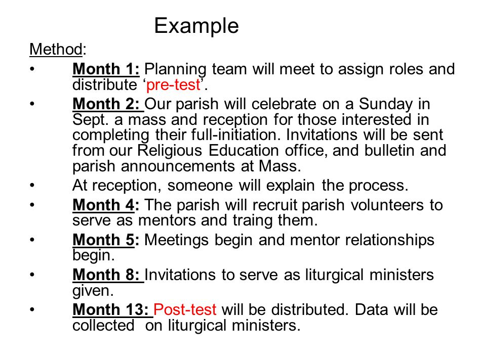 Example Method: Month 1: Planning team will meet to assign roles and distribute 'pre-test'.