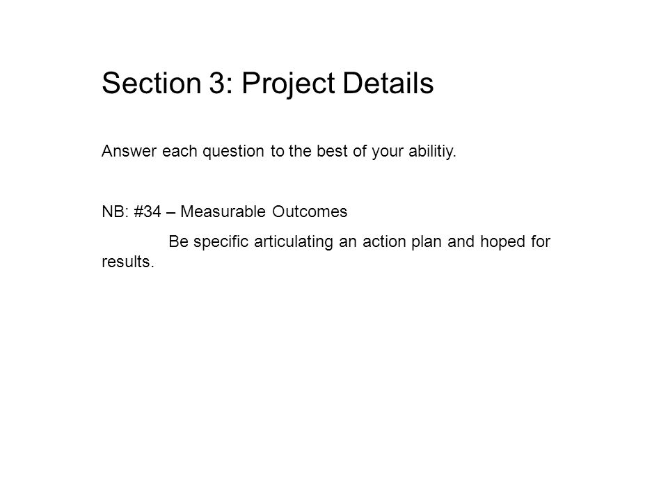 Section 3: Project Details Answer each question to the best of your abilitiy.