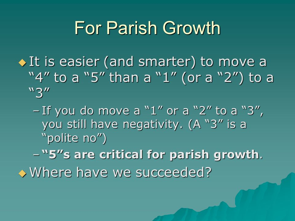 """For Parish Growth  It is easier (and smarter) to move a """"4"""" to a """"5"""" than a """"1"""" (or a """"2"""") to a """"3"""" –If you do move a """"1"""" or a """"2"""" to a """"3"""", you stil"""