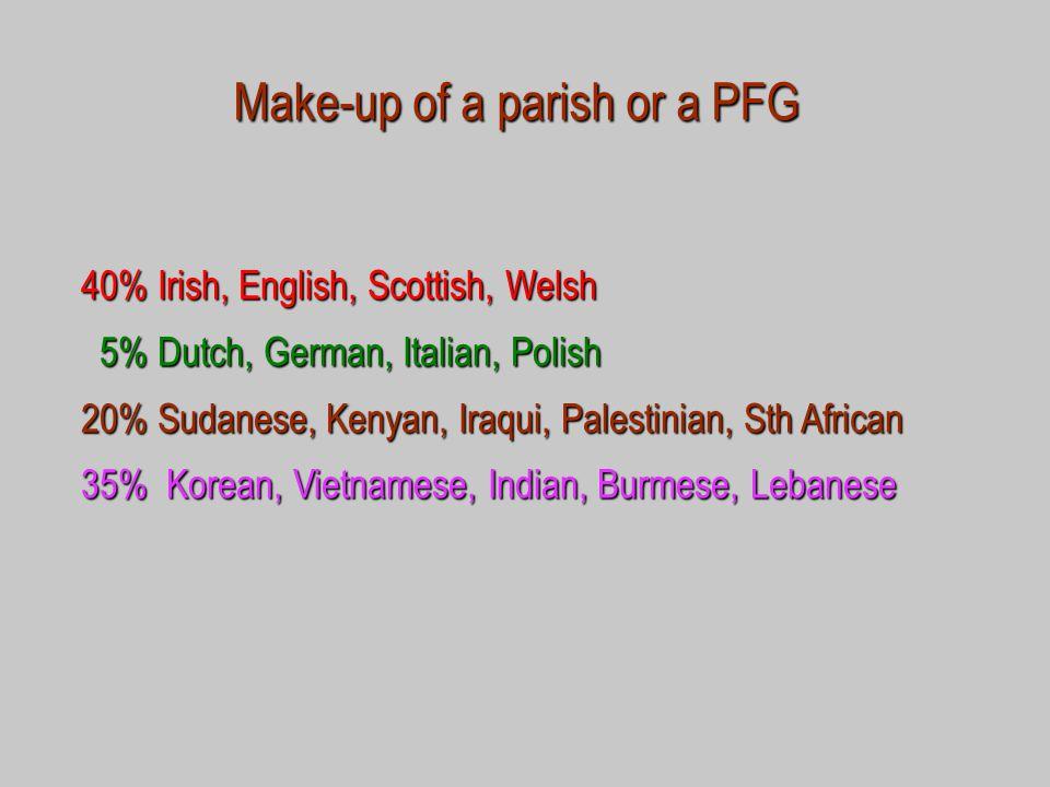 Make-up of a parish or a PFG 40% Irish, English, Scottish, Welsh 5% Dutch, German, Italian, Polish 5% Dutch, German, Italian, Polish 20% Sudanese, Kenyan, Iraqui, Palestinian, Sth African 35% Korean, Vietnamese, Indian, Burmese, Lebanese