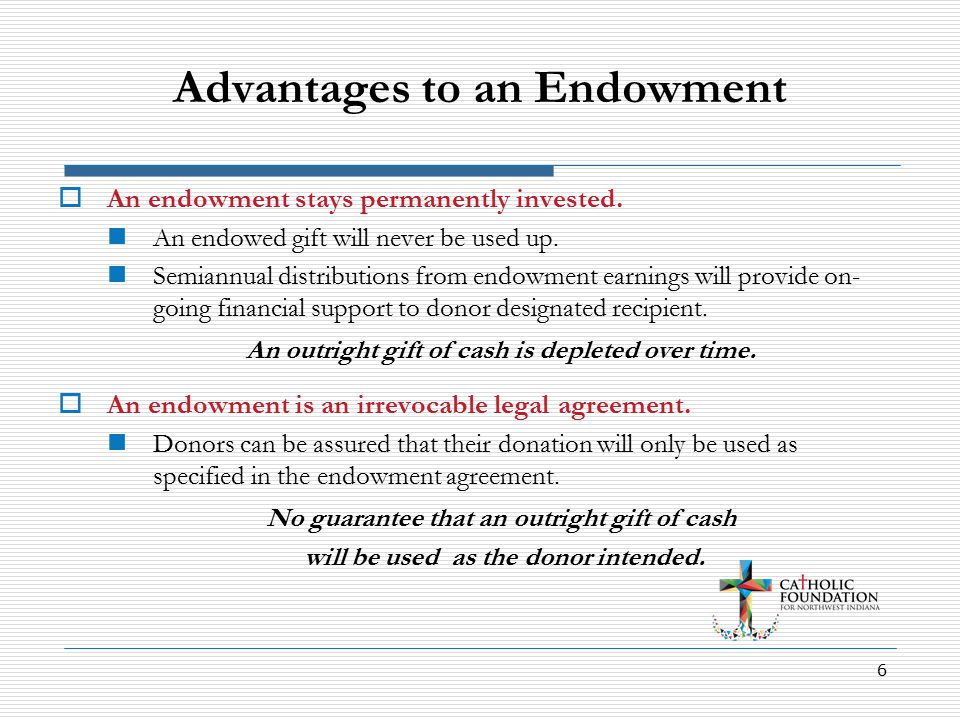 6 Advantages to an Endowment  An endowment stays permanently invested.